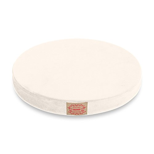 Shinnwa Polyester Supper Soft Cushion Round Memory Foam Seat Cushion Short Plush Lumbar Support Pillow Home Office Chair Pad White 16'