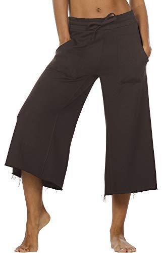 icyzone Damen Lose Weites Bein Hose Elastische Taille Hosenrock Capri Pants Freizeithose (L, Braun)