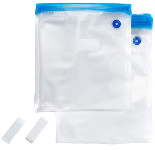 Sous Vide Bags Kit for Anova, Joule and all Popular Brands - 20 GREEN APRON Reusable BPA FREE Sous Vide Bags [2 Sizes] and 2 Bag Sealing Clips. BPA FREE and FDA Approved