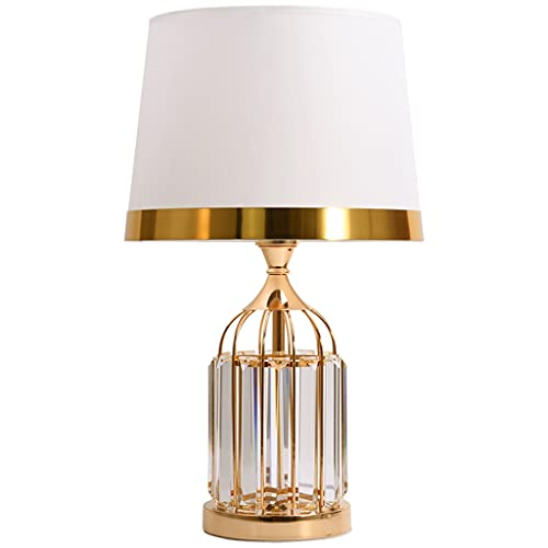 Lampara Mesilla Lámpara de mesa de tela de cristal moderna y sencilla de la tela cálida y romántica sala de estar de la casa de la casa de la noche de la lámpara de estudio de la lámpara de lectura de