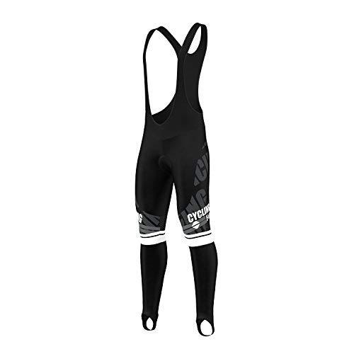 FDX Mens Pro Bib Tights Winter Thermal 3D Gel Padded Bicycle Leggings Long Pants (White, Large)