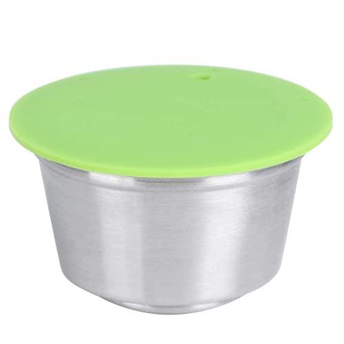 Cápsula de café, taza de cápsula de café recargable reutilizable de acero inoxidable apta para Dolce Gusto Cafetera de alta precisión de filtración Fácil de limpiar(Verde)