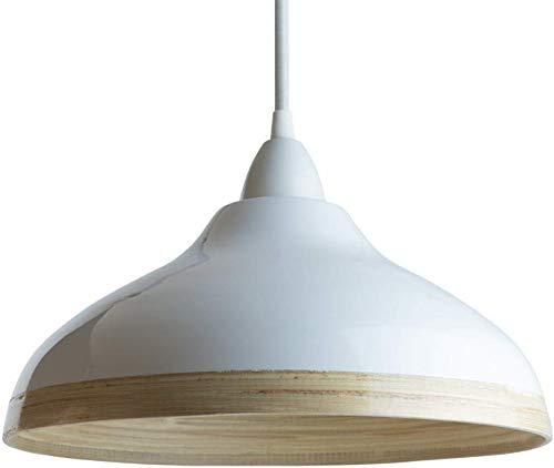 Pantalla para Lámpara Colgante de Techo de Bambú con Barniz Brillante Exterior (Conexiones Eléctricas No Incluidas) (Estilo: Wave, Blanca)