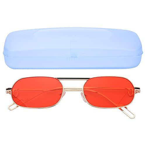 Gafas de Sol para Hombres, Mujeres, Gafas de Sol Vintage a la Moda a Prueba de Rayos Ultravioleta, Gafas de Sol polarizadas Anti-UV, Lentes Rojas