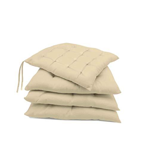 Pack de 4 Cojines para sillas jardín, Comedor, Cocina | Cojines Acolchados para Silla de 40 x 40 cm | Decoración hogar Ideal para sillas (Vainilla)