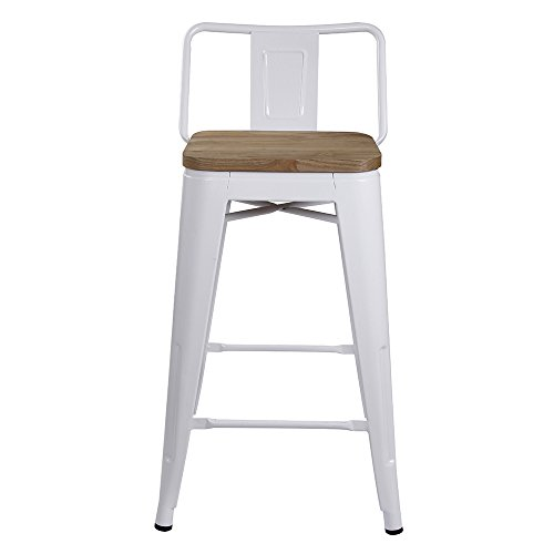 """GIA Low Back Metal Barstool with Wooden Seat 24"""" Counter Height(1 Pack) - Gloss White - Light Weight Easy Assemble and Stackable"""