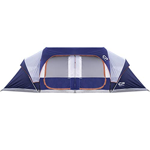 CAMPROS Tent-12-Person-Camping-Tents, Waterproof Windproof Family Tent with Top Rainfly, 6 Large Mesh Windows, Double Layer, Easy Set Up, Portable with Carry Bag, for All Seasons - Blue