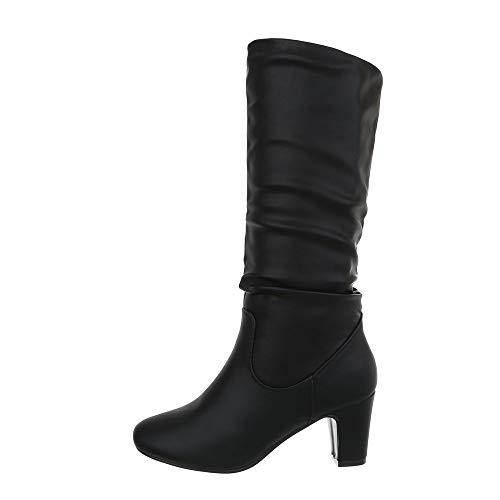 Ital-Design Damenschuhe Stiefel High Heel Stiefel Synthetik Schwarz Gr. 39