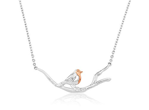 Gemma J Sterling Silver Robin on Branch Necklace