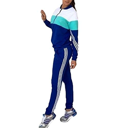 Juleya Frauen Sportswear Traingsanzug Jogginganzug Frauen 2 Teilig Freizeitanzug Kapuzenpullover Sweatshirt + Sporthosen Sport Casual Jogging Running (M, D Blau)