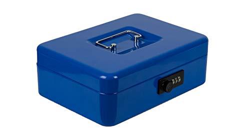 Burg-Wächter Money Code 5025 - Caja de caudales con cerradura de combinación e inserto para dinero duro, chapa de acero, color azul