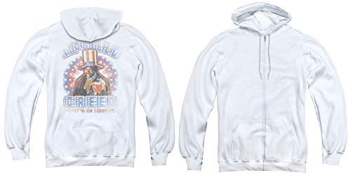 Rocky Full Zip Hoodie Apollo Creed American White Hoody Back, LG