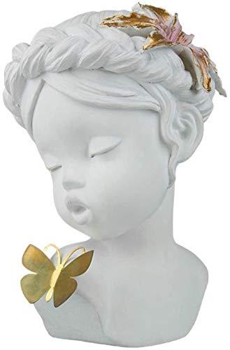 kglkb Escultura Decorativa Salon,Blanco Lindo Ángel Chica con Mariposas Escultura Adornos De Resina Hogar Decoración De Escritorio Amor Y Regalo De La Suerte