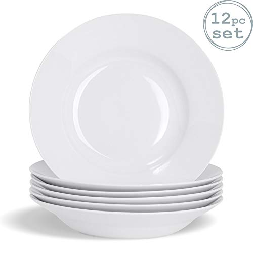 Argon Tableware Juego de Platos hondos Blancos para Sopa o Pasta - Borde Ancho - 230mm - Pack de 12
