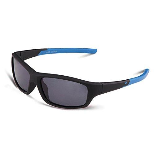 DUCO Gafas de Sol Polarizadas para Niños Marco de Goma de Flexible para Niño y Niña de 5 a 12 años Marco Negro y Azul