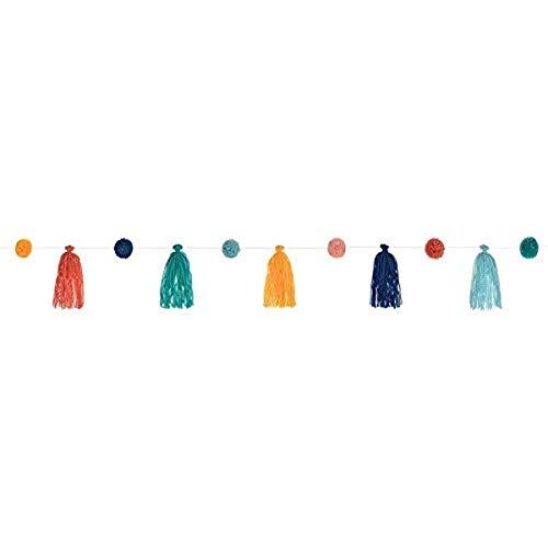 amscan 220407-Guirnalda de Estilo Bohemio (1 Unidad, 329 cm de Longitud, con Pompones y Flecos Colgantes, decoración para cumpleaños, Carnaval y Fiesta temática, Multicolor (220407)