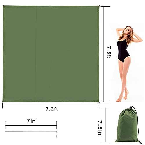 Waterproof Camping Tarp- 7.2 x 7.5ft Tent Footprints Tent Footprint with 4 Ground Stakes & Storage Bag Ultralight Tent Tarp Tent Floor Saver Ground and Floor Sheet Mat Tarps for Picnic Camping Hiking