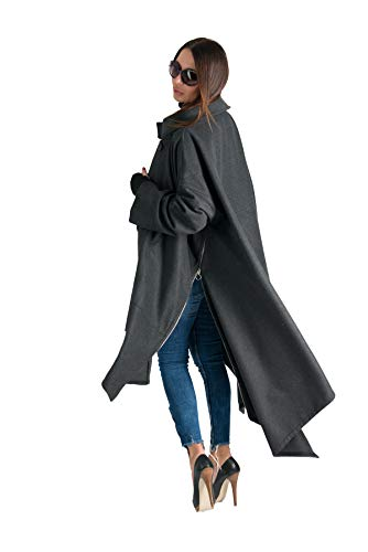 EUG Fashion Abrigo de invierno gris oscuro para mujer, talla grande, lana suave, manga suelta, vestido grande - gris - 8XL