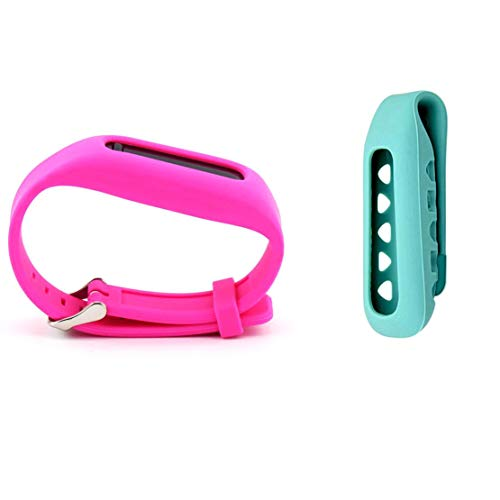 Dunfire Replacement Clip Holder + Wristband 2pcs Set for Fitbit One Wireless Activity Plus Sleep Tracker (Teal&Pink)