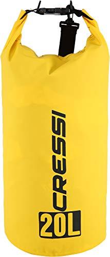 Cressi Unisex-Erwachsene Dry Bag-Wasserdichte Taschen mit langem verstellbaren Schulterriemen Für Tauchen, Bootfahren, Kajak, Angeln, Rafting, Schwimmen, Camping und Snowboarden, Yellow, 20 L