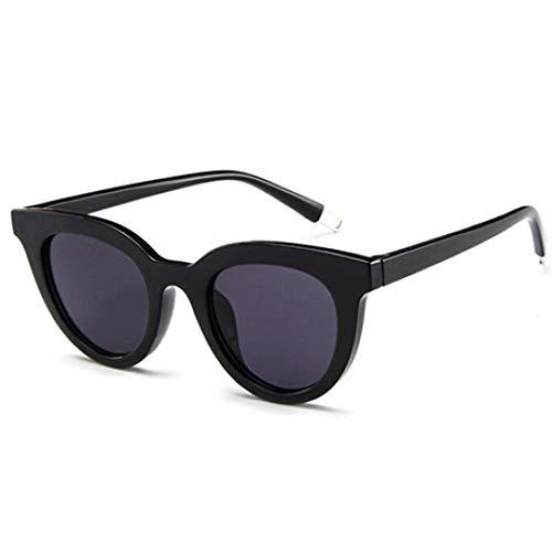 Gafas de Sol de Moda Gafas de Sol Redondas de diseño Vintage Estilo de Mujer Gafas de Sol Lindo Viaje Elegante Uv400 Negro