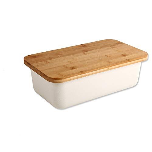 Gräfenstayn® Boîte à Pain avec Planche à découper intégrée comme Couvercle (38,5 x 22 x 13cm) en Bambou/boîte à Pain en 2 Parties