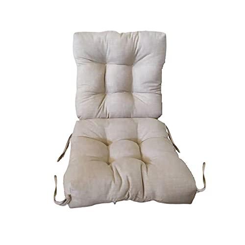 1 Cojín con Respaldo para sillones de Interior y Exterior. Cojín con Respaldo para Sillas de terraza. Cojines Acolchados para sillas terraza. (04-Beige)