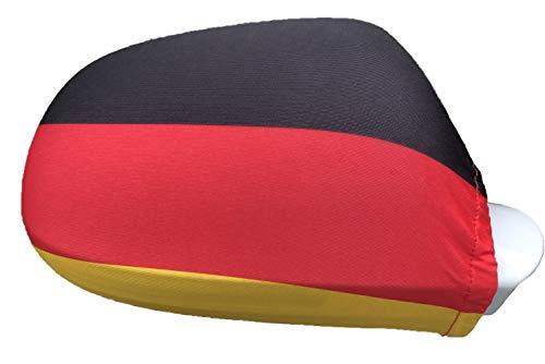 NA Spiegelfahnen 1 Paar Deutschland Flagge für Außenspiegel I 2er-Set Überzug Fanartikel für Fußball EM WM | Deutschland Fahne für Autospiegel | Spiegelflagge Deutschland