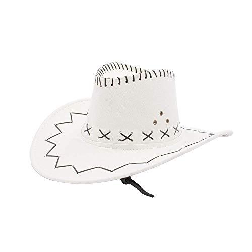 Sombrero Cowboy de Vaquero Toy Story Western Disfraz para Adulto y Niños YJ-24 (Blanco, Niños/54cm)