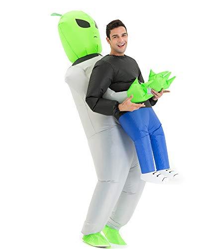 Hsctek Inflatable Alien Costume Adult Men Women, Inflatable Blow Up Costume Alien Abduction Costume Youth, Inflatable Alien Carrying Me Holding Man Halloween Costume Teen