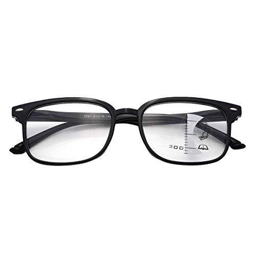 dPois Erwachsene Lesebrille Progressive Brille Multifokal mit Rechteckigem Rahmen Leicht für Lesen Computer Arbeiten Schwarz +1.00