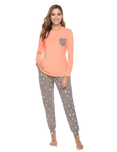 Aibrou Schlafanzug Damen lang Zweiteiliger Baumwolle Nachtwäsche Pyjamas Set Hausanzug Sleepwear mit den Dreiecks-Drucken Orange L