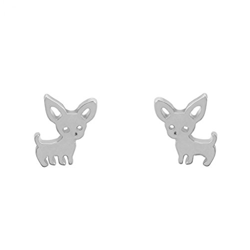 Afco Women's Fashion Chihuahua Stud Earrings Cute Dog Ear Studs Piercing Jewelry Dress Accessory size 1cm x 1.4cm (Silver)