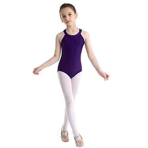 inhzoy Maillot de Danza Ballet para Niña Leotardo Clásico de Gimnasia Rítmica Patinaje Espalda de Encaje Traje de Bailarina Elástico Body Mono de Danza Morado 5-6 Años