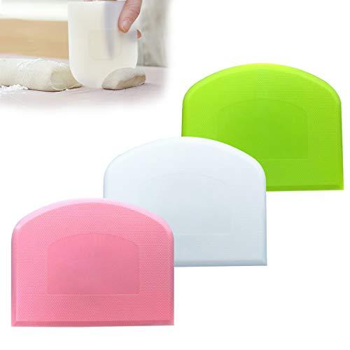 3 plástico raspador de masa dura, raspador de tazón / espátula de masa / tarjeta de masa / cortador de masa espátula de plástico de colores, para pan, pizza, masa(verde, blanco, rosa)