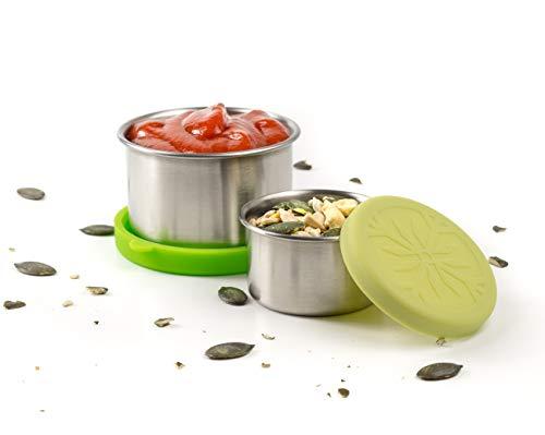 Lekkabox Dipper, 2er Set (Salbei) - auslaufsichere Mini Saucen Behälter | Kleine Döschen für Dressing und Dip To Go | Bento Box Lunchbox Zubehör