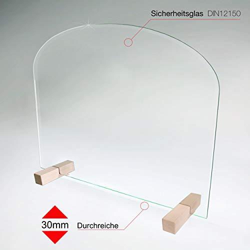 bijon Spuckschutz Thekenaufsatz aus Sicherheits-Glas mit Durchreiche | Hygienischer als Plexiglas und Acryl-Glas | M4 + S4 (120 x 65 cm)