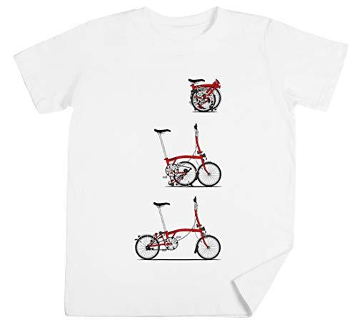 Yo Amor Mi Plegable Brompton Bicicleta Niños Unisexo Chicos Chicas Blanco Camiseta...