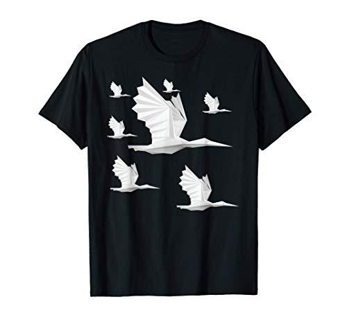 Papel de origami plegable Pájaro Cigüeña Cisne Camiseta