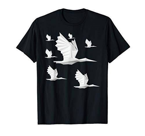 Origami Papier Pliant Oiseau Cygne Cigogne T-Shirt