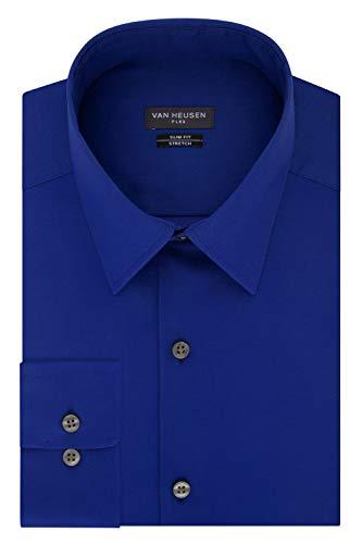 Van Heusen Men's Dress Shirt Slim Fit Flex Collar Stretch Solid, Royal Blue, 16' Neck 34'-35' Sleeve (Large)