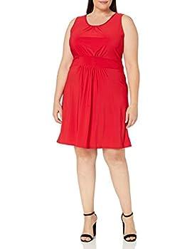 Star Vixen Women s Plus-Size Sleeveless Banded Skater Waist Bodice and Shirred Skirt Short Ity Dress Red 2X