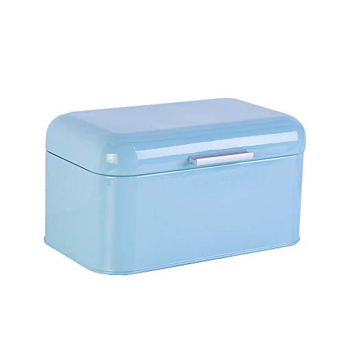 Panera de metal retro para pan de cocina, panadería, gran capacidad de almacenamiento para pan, liso y húmedo, caja de pan vintage con tapa, 31 x 21 x 17 cm, color azul
