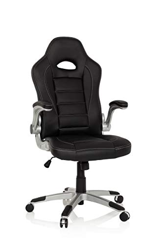 hjh OFFICE 621891 silla gaming RACER SPORT piel sintética negro reposabrazos plegables silla de escritorio inclinable