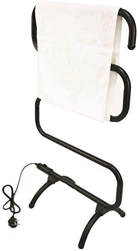 Calentador de Toallas, toallero con calefacción y Rejilla de Secado, Soporte de Pared y Calentador de Toallas de pie para baño, toallero eléctrico de 5 Barras de 100 W, Negro