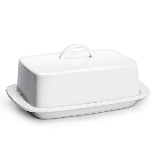 Sweese 312.101 Butterdose Porzellan, Klassische Butterschale für 250 g Butter, Weiß