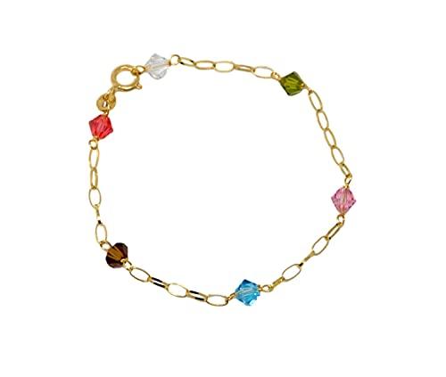 Bracciale in oro giallo 18Kt 750 da bambina o neonati con pietre di cristallo colorate sfaccettate a catena forzatina maglia piatta lunghezza 14 cm