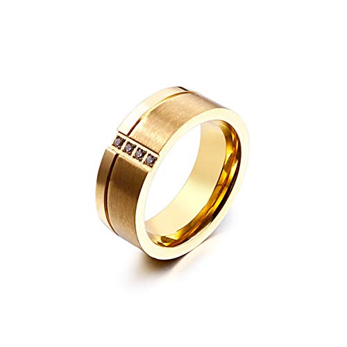 Mailizhong Men and Women Fashion Diamond and Frosted Titanium Steel Ring Gold, Size V