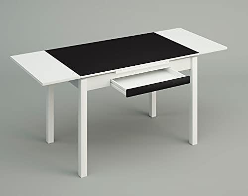 ASTIMESA Mesa de Cocina, Metal, Negro, 100x60cm-extendida 150x60 cms