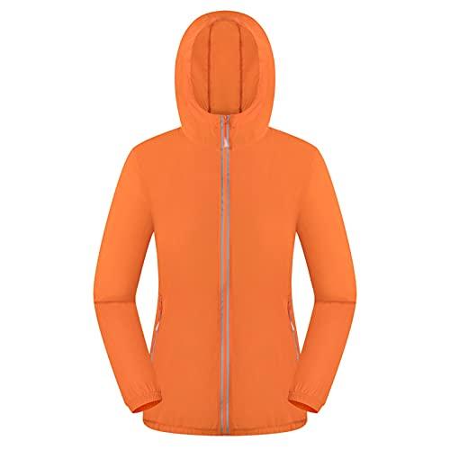 Veste de pluie pour homme et femme - Imperméable - Respirante - Avec capuche - Légère - Grandes tailles - Sport - Parka de pluie - Coupe-vent - Avec poches, Orange, M